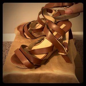 Michael Kors Strappy Platform Wedge Heeled Sandals